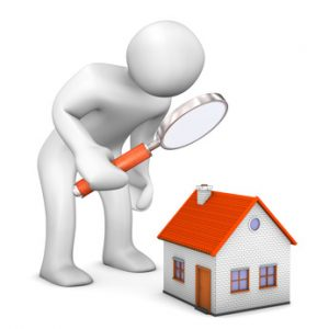 White cartoon character with loupe and house.